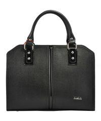 Женская сумка саквояж кожаная черная