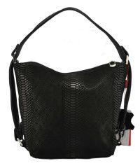 Женская сумка мешочек кожаная питон черная