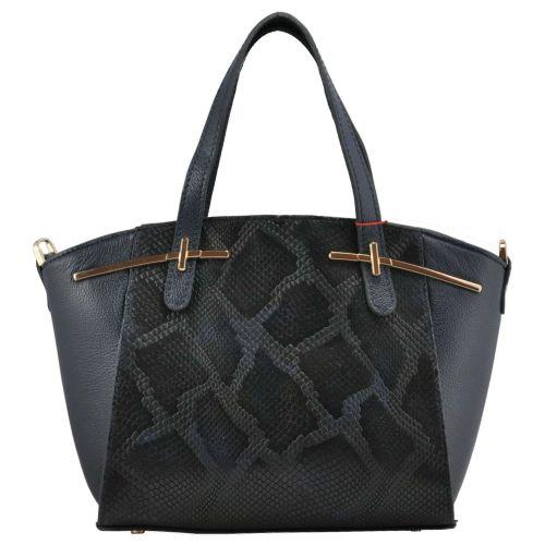 Женская сумка классическая кожаная питон синяя