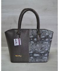 Женская сумка «Две змейки» темно-серая змея 11504