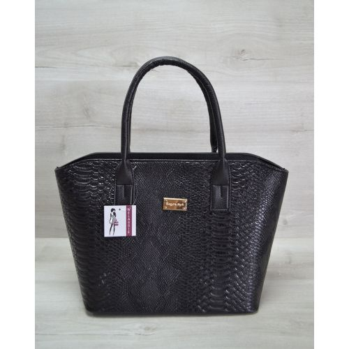 Женская сумка «Две змейки» черная рептилия 11516