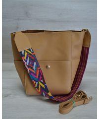 Женская сумка яркий ремень горчичного цвета 23203