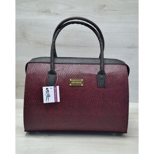 Женская сумка Саквояж бордовая змея 31108