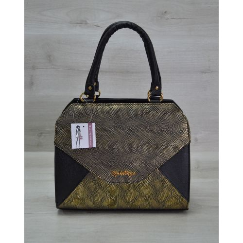 Женская сумка Конверт черная с золотом 31805
