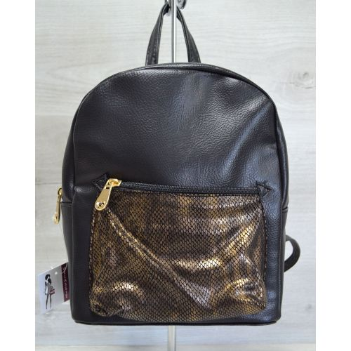Рюкзак «Пайетки» черно-золотая змея 42601