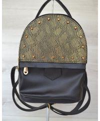 Рюкзак с шипами черный c золотом 43403