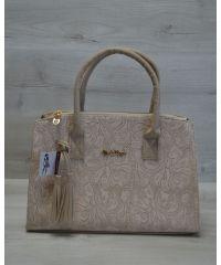 Женская сумка Кисточка бежевые кружева 52017