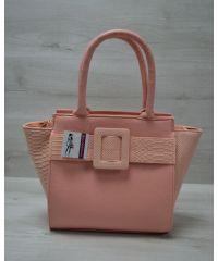Женская сумка с ремнем пудровая 52210