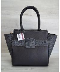 Женская сумка пряжка серая с черным 52908