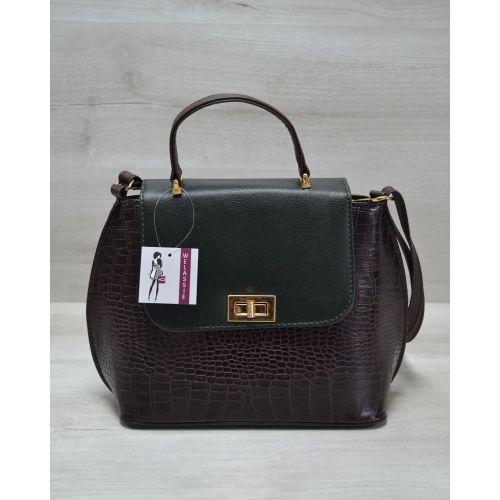 Женская сумка-клатч коричневая с зеленым 61411