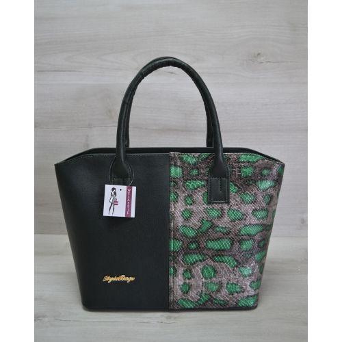 Женская сумка «Две змейки» зеленая змея 11503