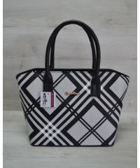 Женская сумка «Две змейки» черная барбери 11515