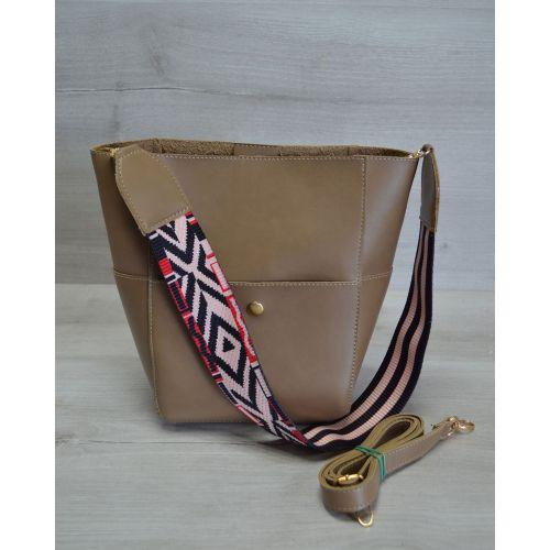 Женская сумка яркий ремень кофейного цвета 23202