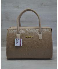 Женская сумка Саквояж кофейная рептилия 31106