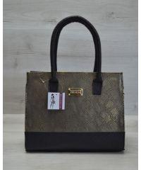 Каркасная женская сумка черная с золотым 31209