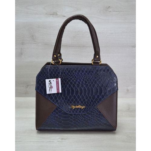Женская сумка Конверт коричневая с синей коброй 31804