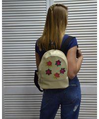 Молодежный рюкзак «Цветочки» бежевый 42301