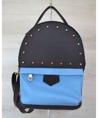 Рюкзак с шипами черный c голубым 43402