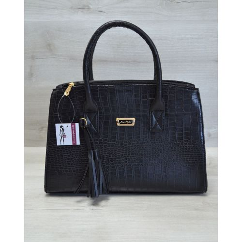 Женская сумка Кисточка черный крокодил 52016
