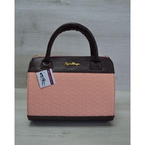 Женская сумка Плетенка пудрового цвета 52102