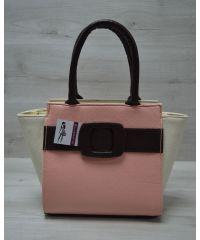 Женская сумка с ремнем пудровая с коричневым 52209
