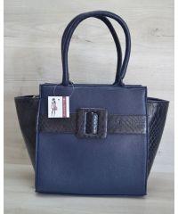 Женская сумка пряжка синяя питон 52907