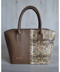 """Женская сумка """"Две змейки"""" кофейного цвета 11501"""