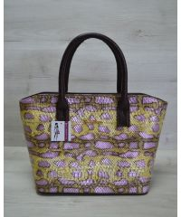 Женская сумка «Две змейки» коричневая с желтым 11506