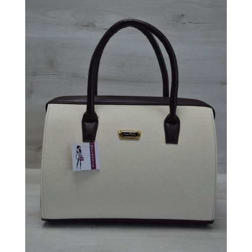 Женская сумка Саквояж бежевая гладкая 31105