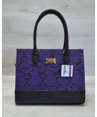 Каркасная женская сумка черная с фиолетовым 31207