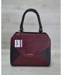 Женская сумка Конверт черная с бордо змея 31803
