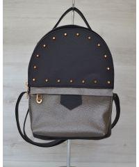 Рюкзак с шипами черный с металиком 43401