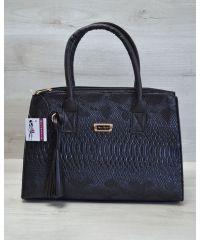 Женская сумка Кисточка черная рептилия 52015