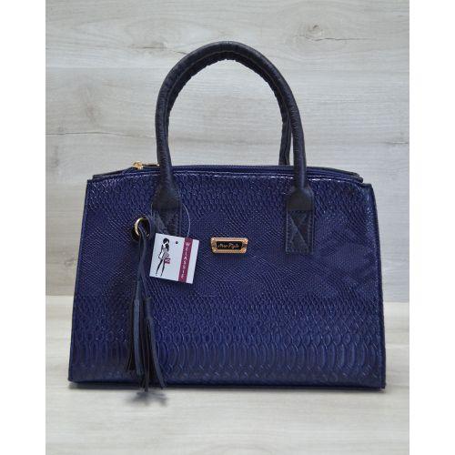 Женская сумка Кисточка синяя рептилия 52025