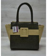 Женская сумка с ремнем хаки 52208