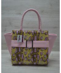 Женская сумка с пряжкой розовая 52905