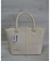 Женская сумка «Две змейки» бежевая рептилия 11505