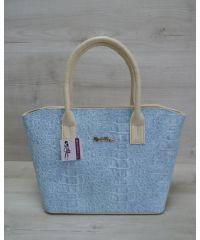 Женская сумка «Две змейки» бежевая с голубым 11513