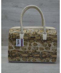 Женская сумка Саквояж золотая змея 31104