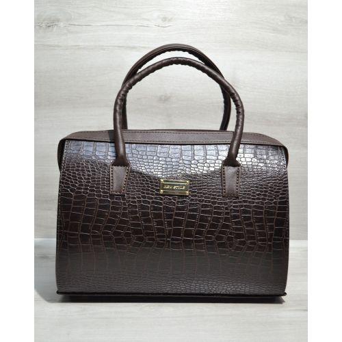 Каркасная женская сумка Саквояж коричневый крокодил 31124