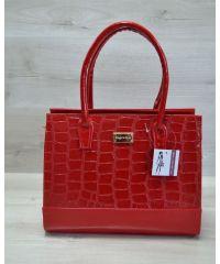 Каркасная женская сумка красная 31206