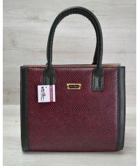 Женская сумка Бочонок бордовая змея 31603
