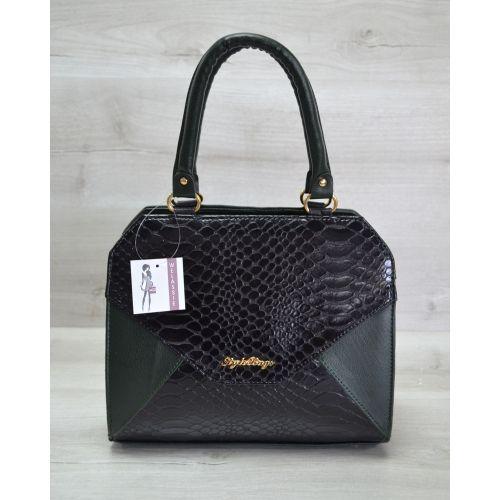 Женская сумка Конверт зеленая с черной коброй 31802