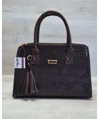Женская сумка Кисточка коричневая рептилия 52024