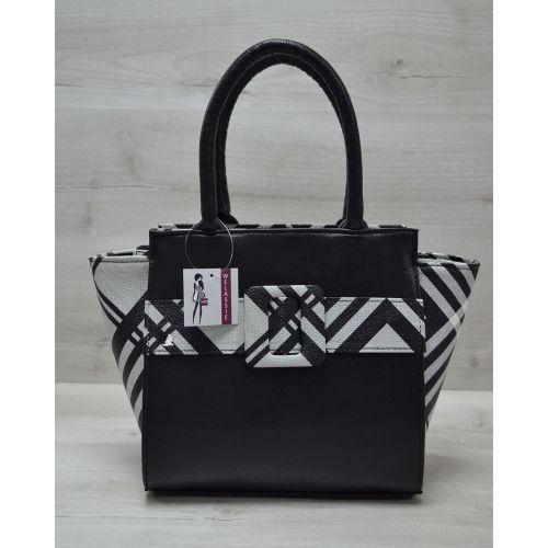 Женская сумка с ремнем черная с клеткой 52207