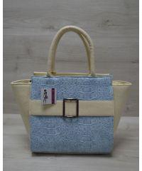 Женская сумка с пряжкой бежевая 52904