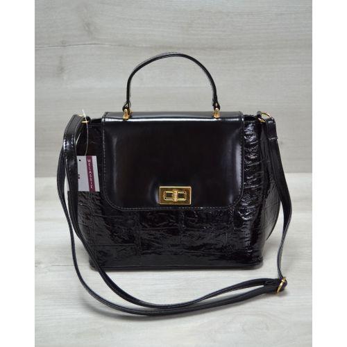 Женская сумка-клатч черная кроко 61408