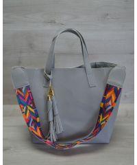 Женская сумка два в одном серого цвета 23307