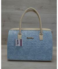 Женская сумка Саквояж голубой крокодил 31103