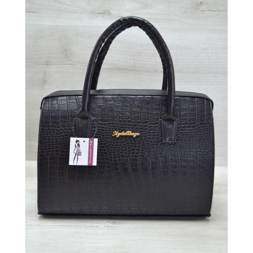 Женская сумка Саквояж черный крокодил 31120